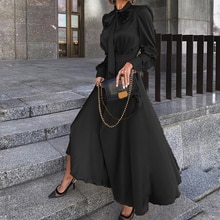 Vintage Bow Tie High Waist Dress Women A-Line Maxi Dress Autumn Full Sleeve Party Proms Dresses Plus