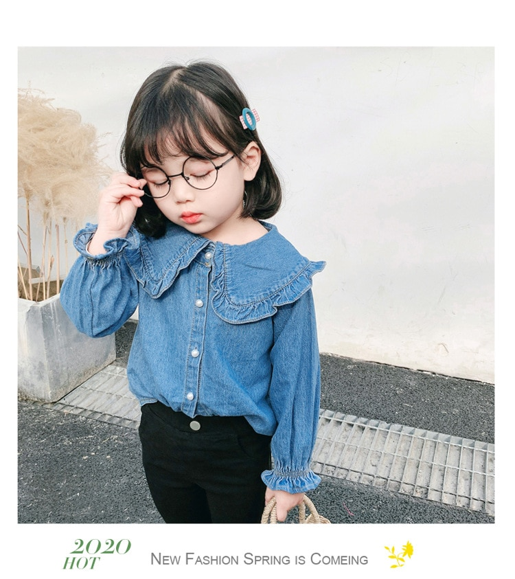 2019 nuevo artículo de primavera chica Jeans camisa de manga larga Denim blusa
