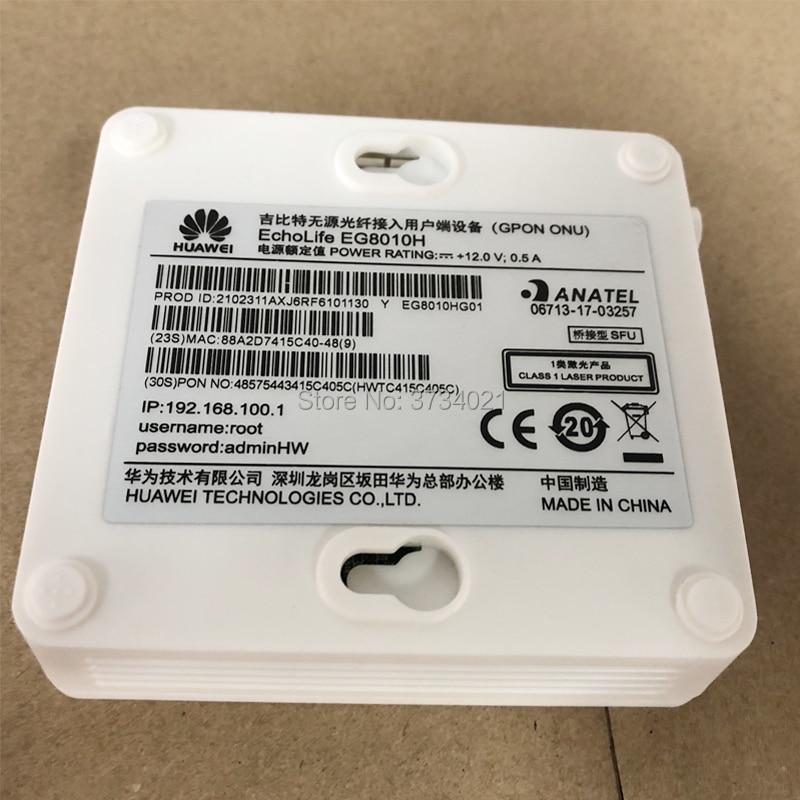 10Pcs Huawei GPON ONU EG8010H, 1GE Port English Firmware SC APC ONT with power adapter, not single box, sam function as HG8010H