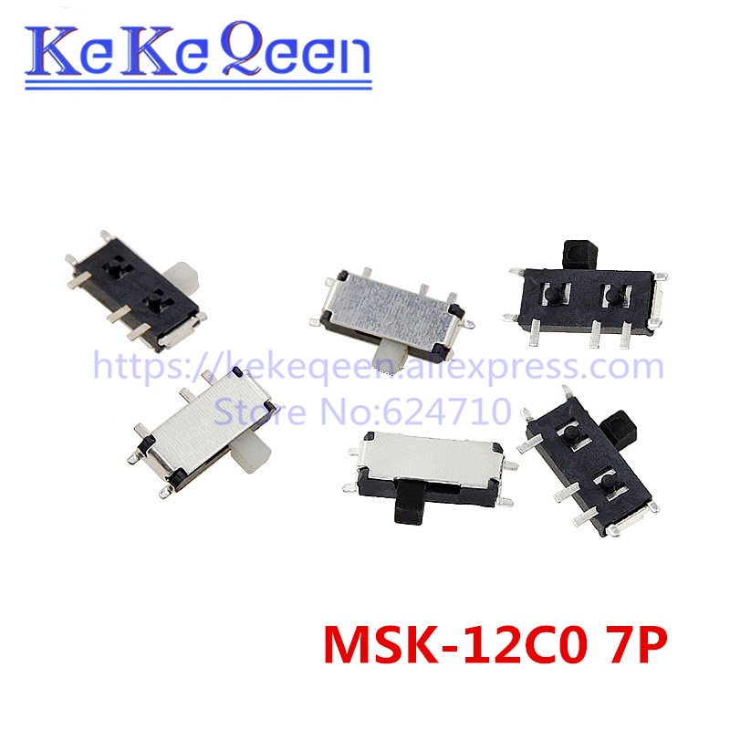 100 unids/lote Mini 7 Pin-en/de 1P2T SPDT MSK-12C02 SMD interruptor deslizante de palanca para MP3 MP4 DC 12V 0.1A