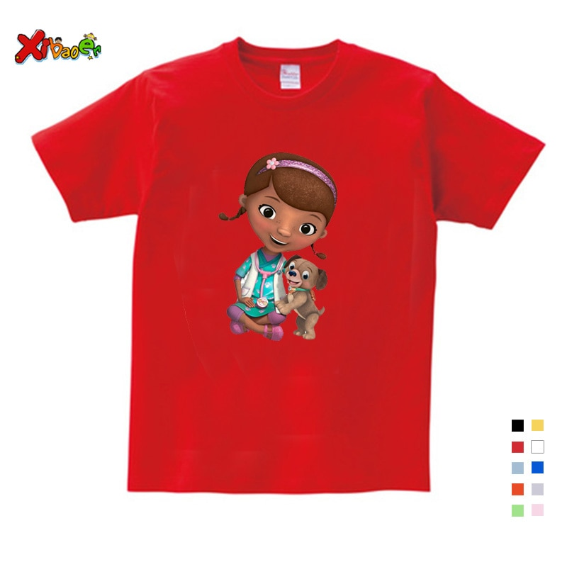 Camisetas De Niñas camiseta de niña de doctor mcstuffins camiseta de verano para niños Camiseta de algodón de manga corta Camiseta de niños para niña camiseta de dibujos animados