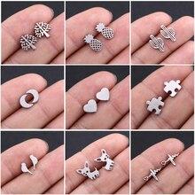 LIKGREAT Stud Earrings for Women Girls Geometric Animal Bird Dog Heart Moon Star Tree of Life Airpla