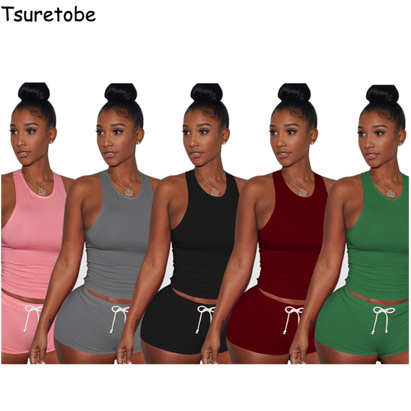 Женский комплект из двух предметов Tsuretobe, облегающий топ с принтом в полоску и шорты с высокой талией, повседневная одежда без рукавов разме...