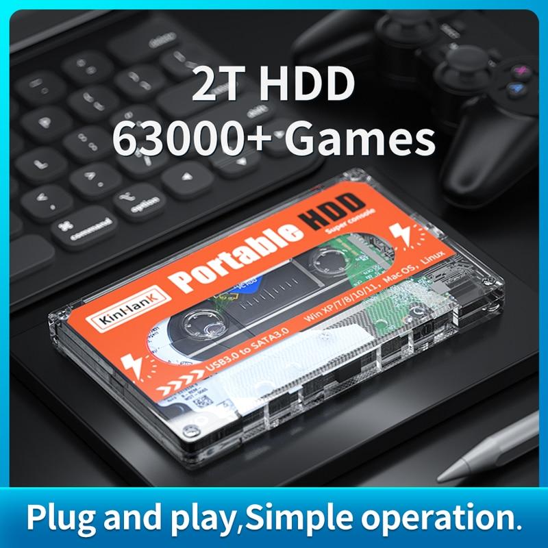 2T HDD المحمولة قرص صلب خارجي القرص مع 63000 + ألعاب ل سيجا زحل/PS1/PS2/PS3WIIU/وي/N64 SATA 3.0 للكمبيوتر ويندوز ماك OS