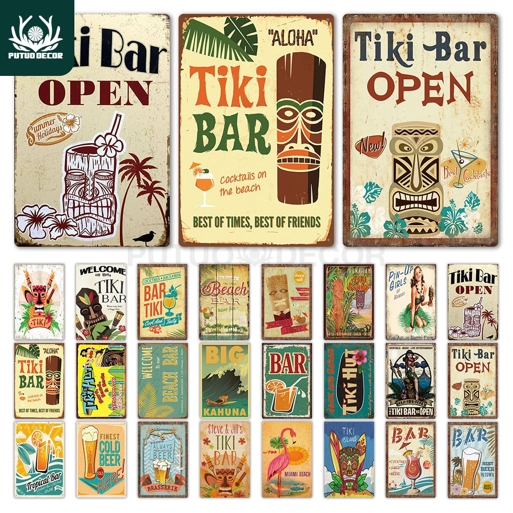 Tiki decoración de pared para Bar signo de Metal placa de Metal verano Tiki Sign placa de Metal para Tiki Bar playa Bar cuadro de hierro decorativo