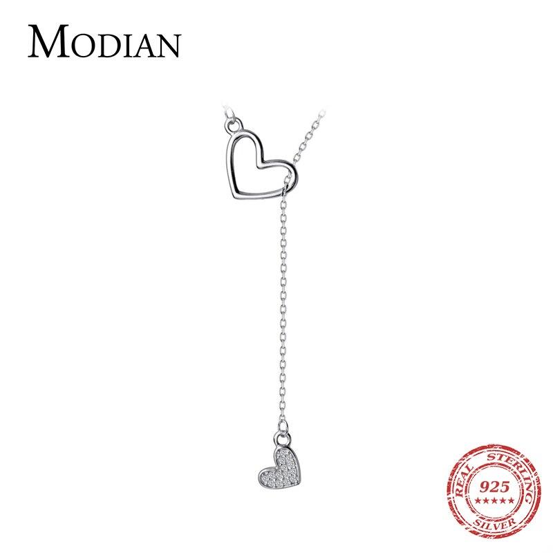 Modian románticos corazones dobles Plata de Ley 925 forma de amor collar de cadena larga colgante para mujer boda joyería fina de moda