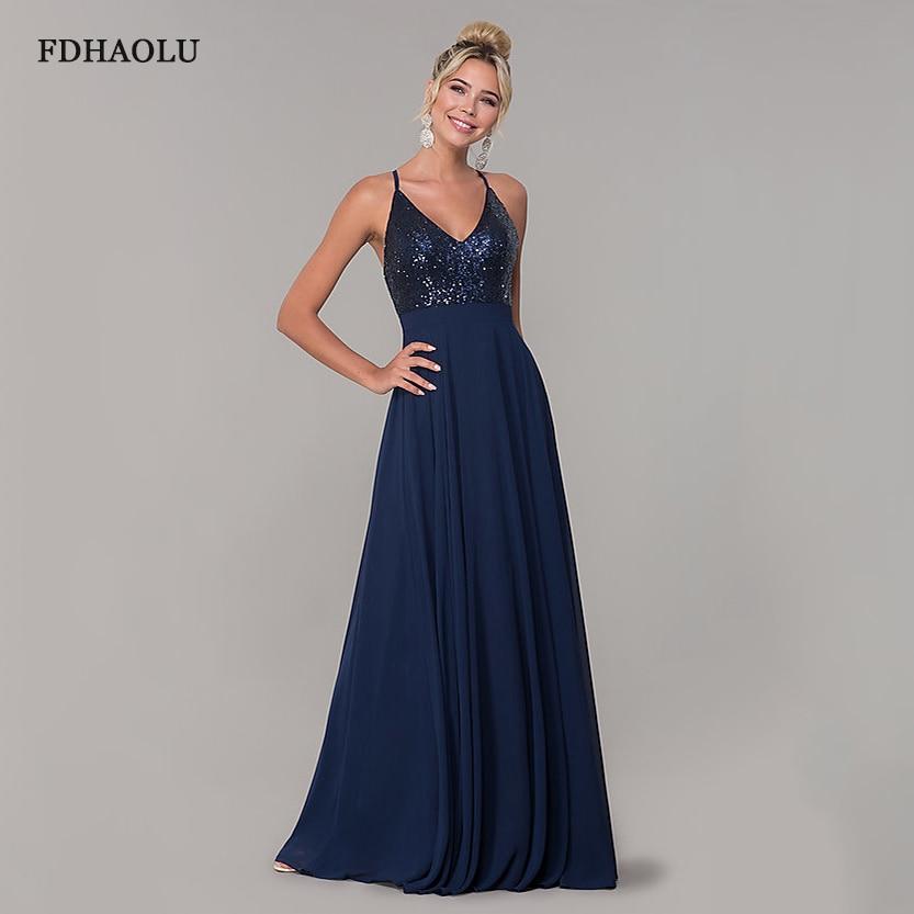 فستان سهرة طويل مطرزة باللون الأزرق الداكن ، فستان سهرة أنيق جديد ، ياقة على شكل V ، رسن ، AE104