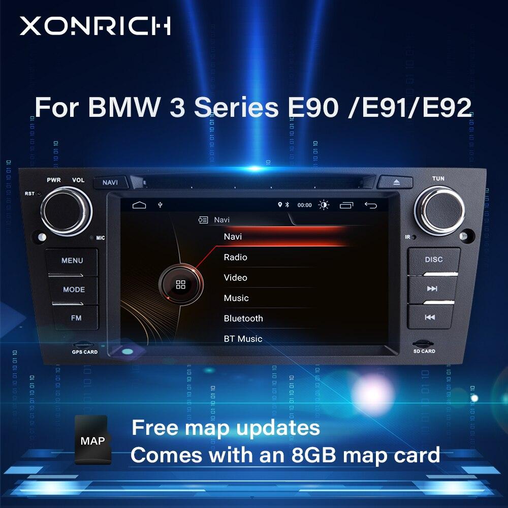 Xonrich 1 Din coche reproductor Multimedia para BMW E90/E91/E92/E93 3 Serie 2005-2012 unidad frontal de Radio GPS navegador estéreo DVD de Audio