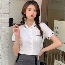 Short Sleeve Polo Collar Short Cardigan Tshirt Summer Top Korean Cloth Kawaii Streetwear Tee Shirt F