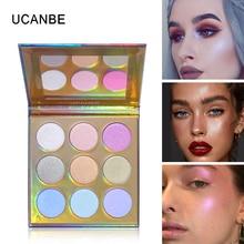 Ucanbe 9 cores brilho highlighter paleta shimmer brilhante arco-íris highligh pó rosto countour iluminador