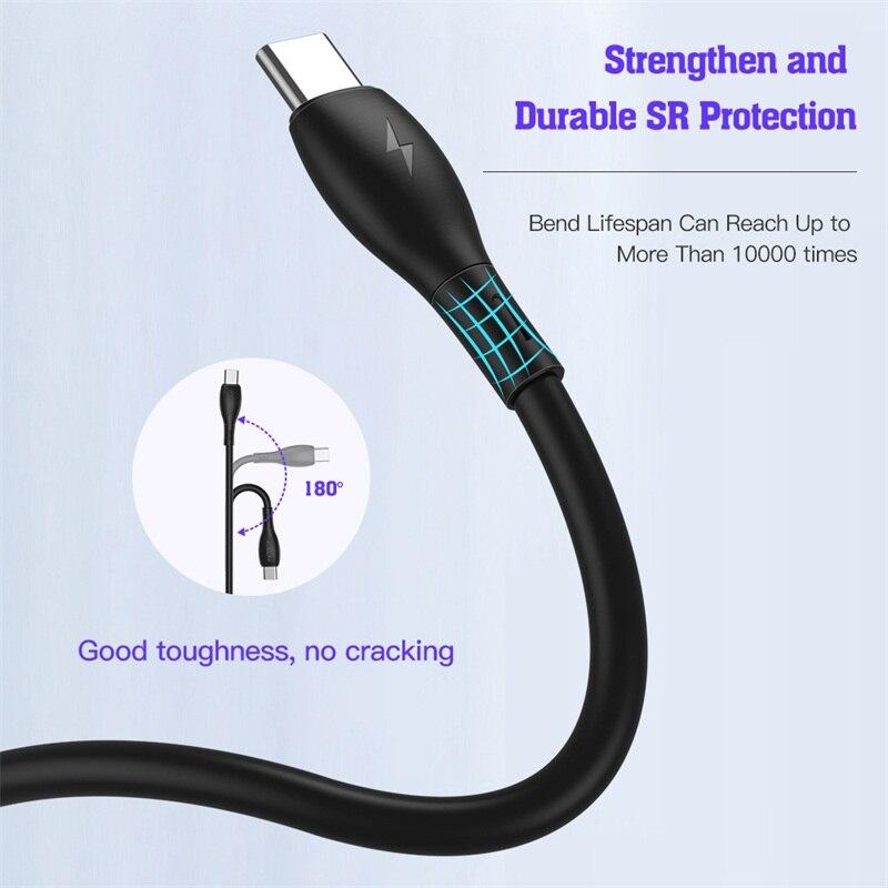 Купить с кэшбэком KUULAA USB Type C to USB C Cable PD 60W QC4.0 Fast Charging USB-C Cable For MacBook iPad Pro Samsung S10 Liquid Silicone Cable