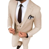 beige wedding tuxedos slim fit one button suits for men custom groom suit three pieces prom formal male suitsjacketpantsvest