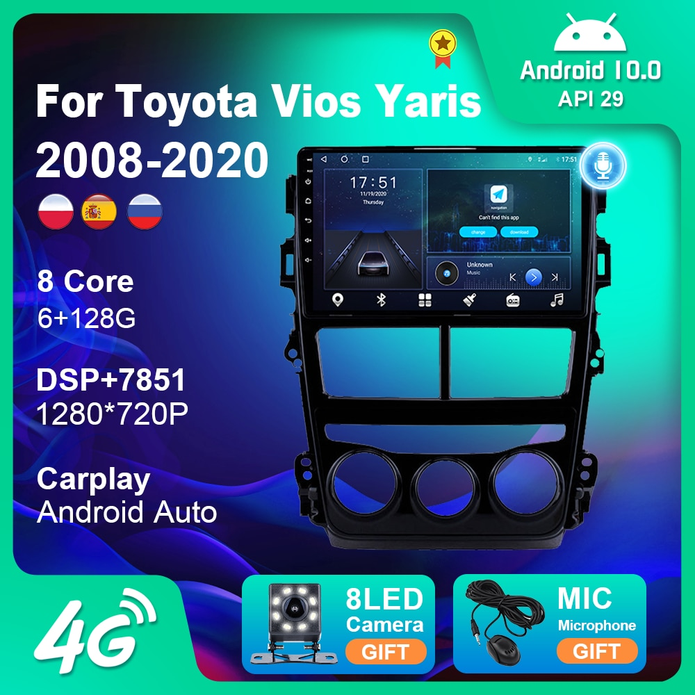 Фото - Автомагнитола, мультимедийный плеер для Toyota Vios Yaris 2018 2019 2020, GPS-навигация, мультимедийный плеер 2 Din, Android 10, Wi-Fi, камера без DVD автомагнитола jmcq 2 din android 10 для renault megane 2 2002 2009 мультимедийный видеопроигрыватель с сенсорным экраном gps rds dvd