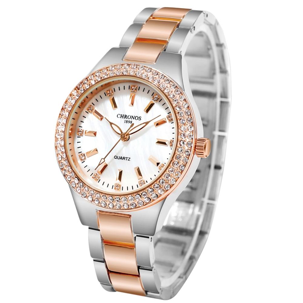CHRONOS Women Watch Rhinestones Hardlex Dial Stainless Steel Folding Clasp Band Ladies Fashion Wristwatch CH36 enlarge