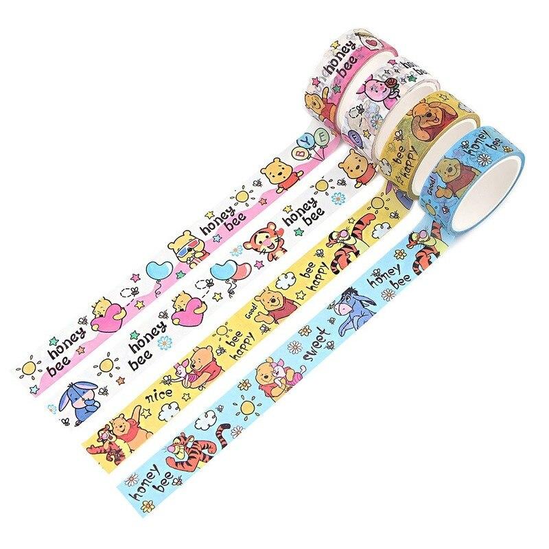 Original disney winnie o pooh fita de papel multi-estilo adesivo cor diário papelaria fita presentes para o aniversário das crianças