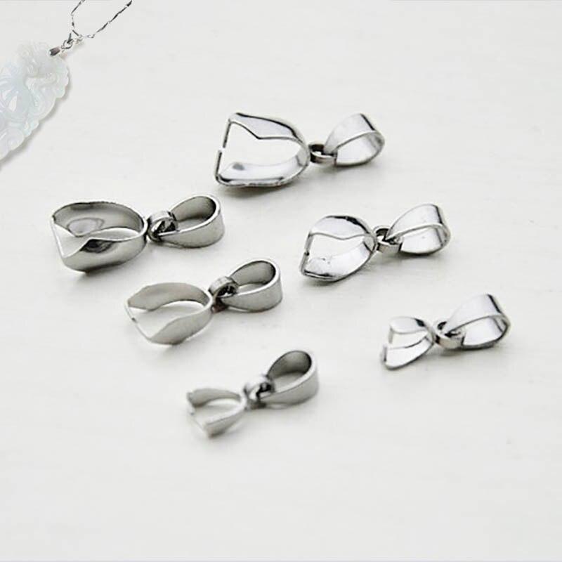 10 Uds. De acero inoxidable collar conector colgante cierre 3x15/5x17/9x19mm Clip proveedor para la fabricación de joyas Diy