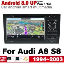 DVD de voiture GPS   Écran HD IPS DSP stéréo, Android 8.0, up GPS, Navi carte pour Audi A8 S8 4D, 1994 ~ 2003 MMI lecteur multimédia, Radio système WiFi