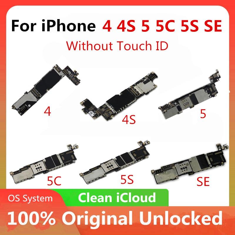 Frete grátis original para iphone 4 4S 5 5c 5S 7p placa-mãe fábrica desbloqueado para iphone mainboard com chips completos livre icloud