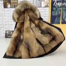 HANZANGL Fur Coat Men's Plus Size 2020 Winter Thick Parkas Hooded Jackets Liner Detachable Men Long Overcoat M-5XL