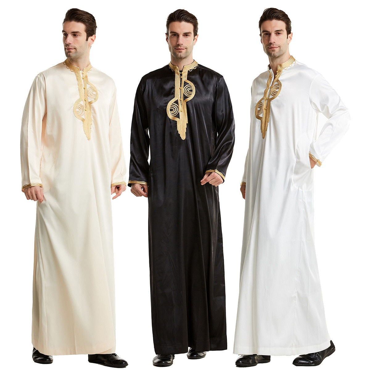 Muslim Men Jubba Thobe Islamic Clothing Stand Collar Kimono Long Robe Saudi Musulman Wear Abaya Caftan Jubah Dubai Arab Dressing