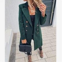 2020 Winter Ladies Coat Long Wool Coat and Jacket Double Breasted Long Coat Elegant Retro Coat Women Warm Black Blazer
