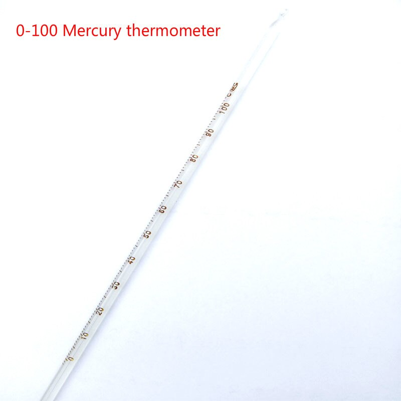 1pcs 0-100 mercury thermometer, glass Celsius thermometer, total length 300mm, chemical laboratory e