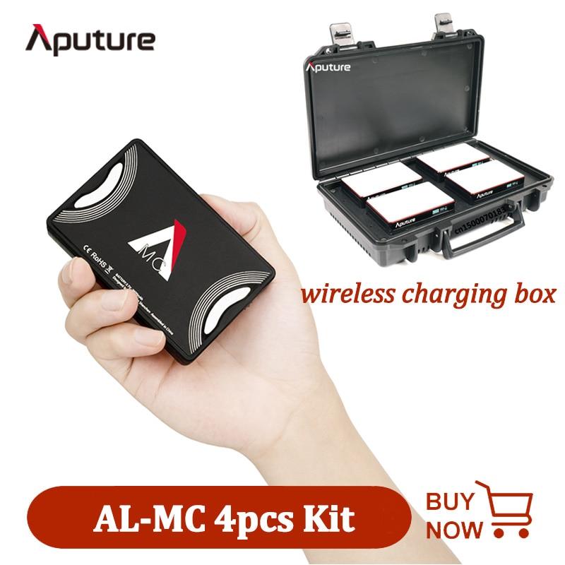 Aputure AL-MC 4-Light طقم سفر 4 قطعة MC Led ضوء مع صندوق شحن لاسلكي RGB ملء ضوء التصوير الفوتوغرافي الفيديو الإضاءة