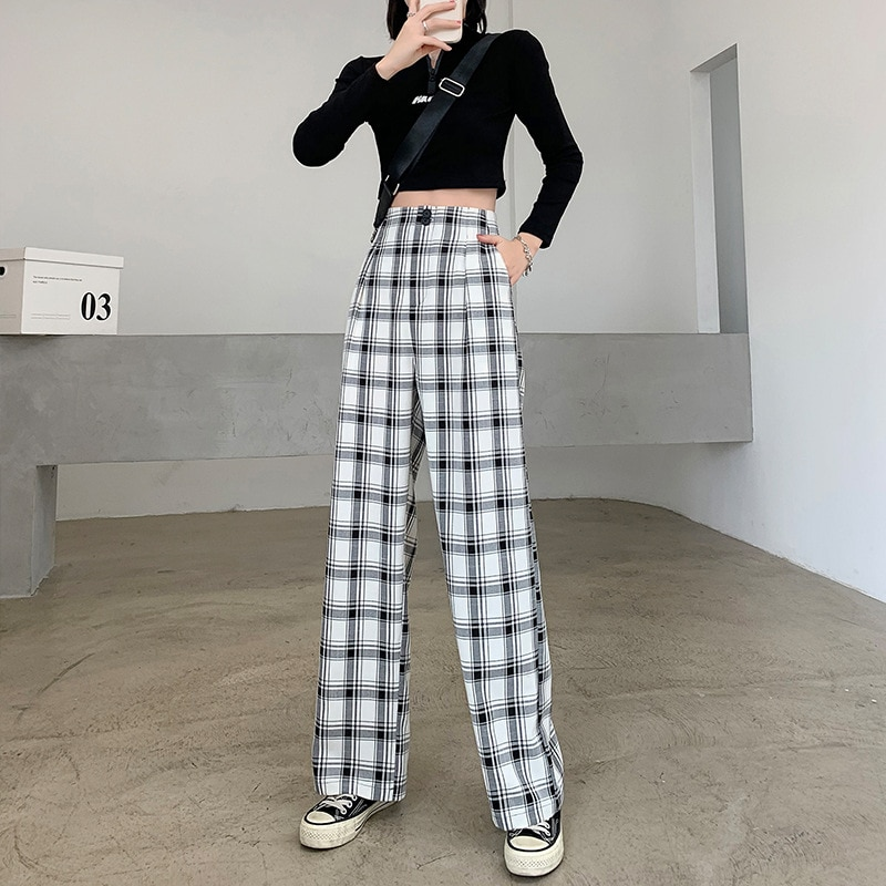 Yg Brand Women's Wear, 2021 New Plaid Straight Pants, Leisure And Comfortable Wide Leg Pants, Droopi