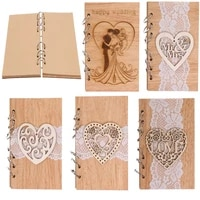 wedding guestbook hollow out heart love mr mrs wooden carving cover guest sign in book wood craft notebook wedding supplies
