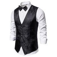 Мужской облегающий жилет с узором пейсли, черный деловой классический жилет с галстуком-бабочкой, для свадьбы, 2021