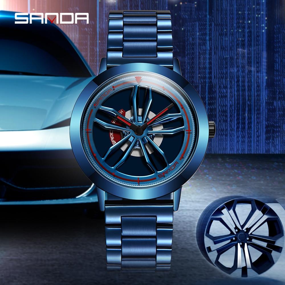 SANDA 2021 Brand New Waterproof Men Watch Quartz Movement Racing & Furious Rotating Dial Wheel Wristwatch Gift Relogio Masculino