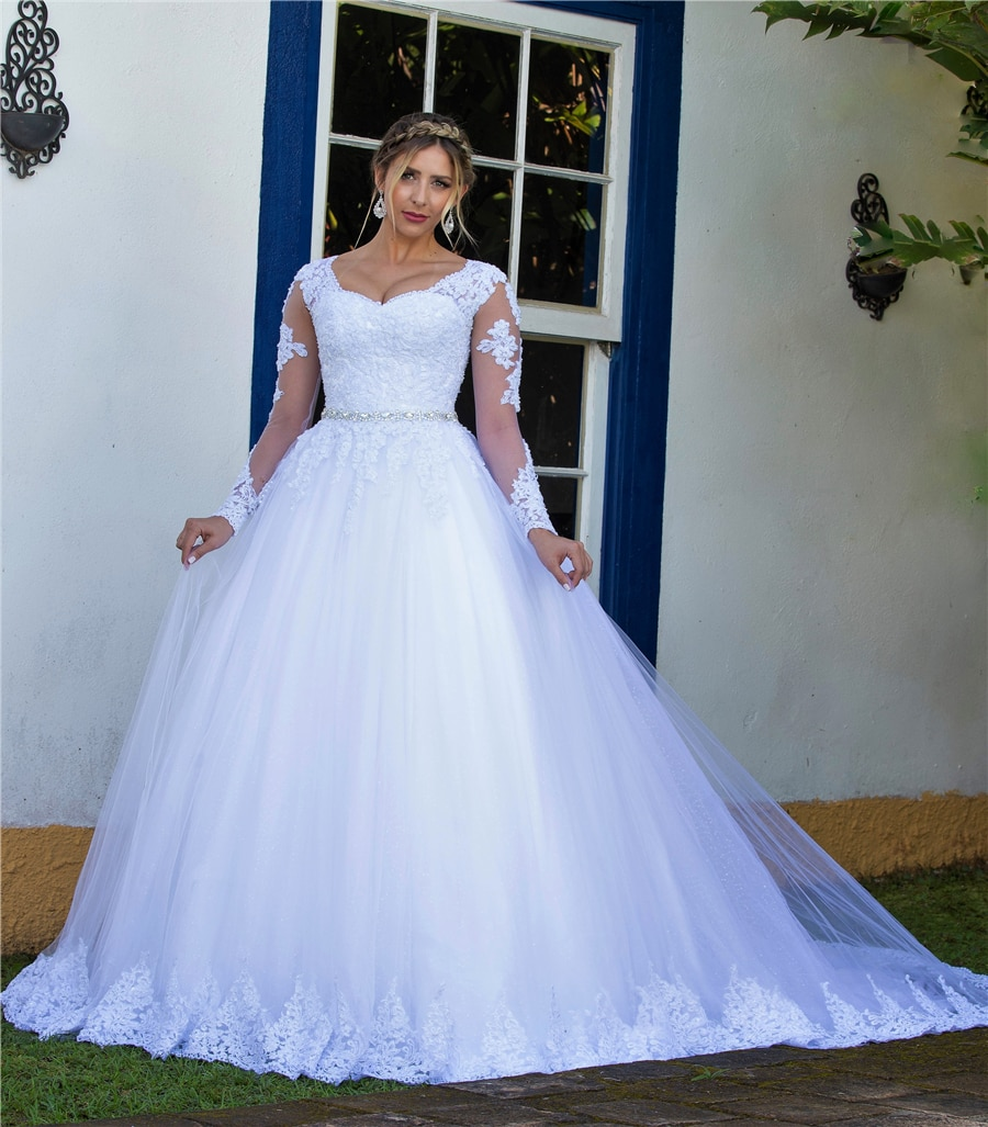 Review V-neck White Lace Applique Long Sleeves Beading Belt Wedding Dress Plus Size Elegant Bridal Dress vestido branco