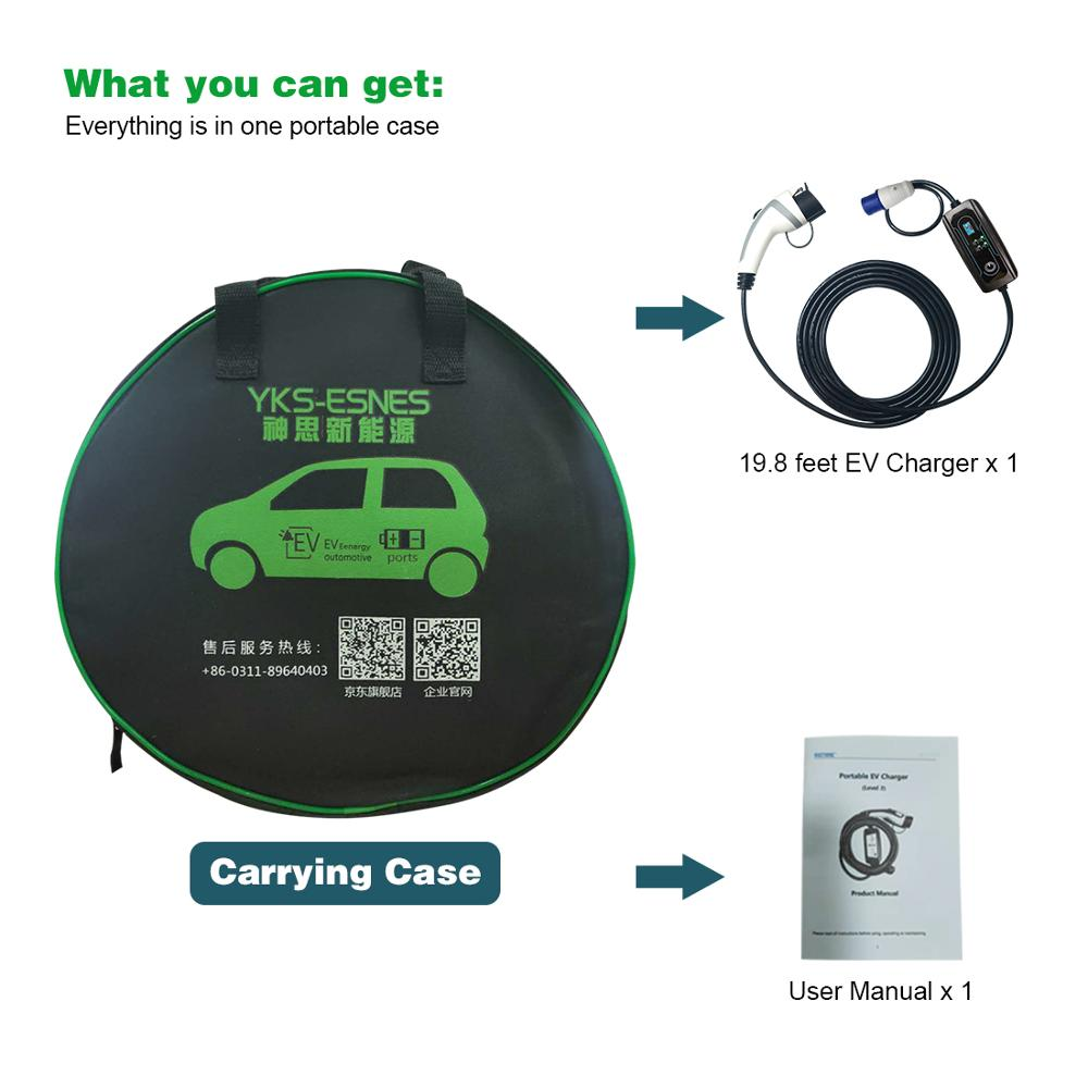 EV Charger TYPE 1 16Amp Portable Electric Vehicle Charger, CEE Plug 3.6kW Car Charging Cable, SAE J1772 enlarge