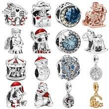 Новый серебряный цвет Рождество звезда Микки ангел лошадь Амулеты Бусы Кулон Fit Pandora Браслеты ожерелье для женщин DIY любителей ювелирных изделий