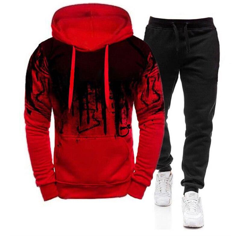 Новинка 2021, мужской спортивный костюм, осенне-зимний мужской свитер с капюшоном и спортивные штаны, комплекты одежды, модный мужской спорти...