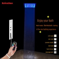 concealed thermostatic shower set wall mounted shower faucet nozzle mixer light ceiling shower head rainfall bathroom shower tap