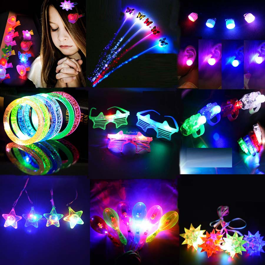 Glow Party Crown Flower Headband LED Light Gadget Rings Luminous Earrings Valentines Day Easter Wedd