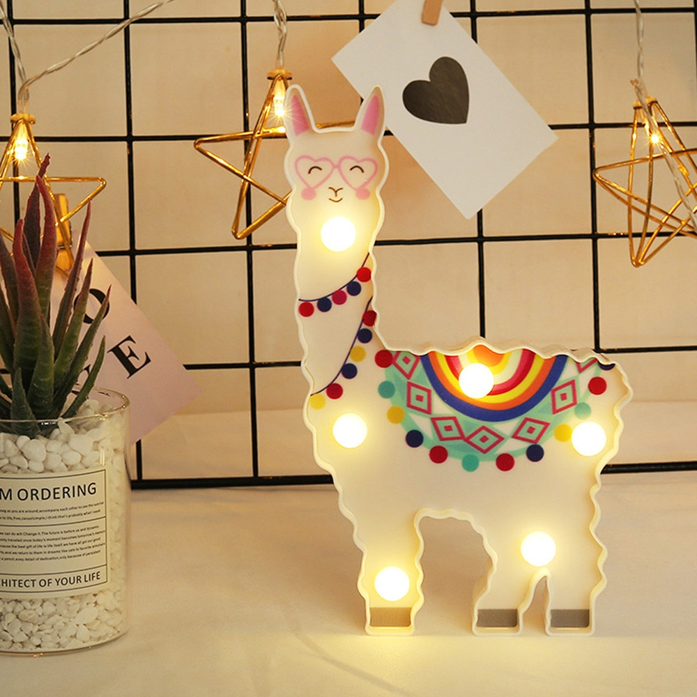 Bzoosio Arte Creativo LED decorativo luz de noche para colgar lámpara forma de Alpaca Linda Alpaca modelado Mesa lámpara escritorio regalos de cumpleaños F1