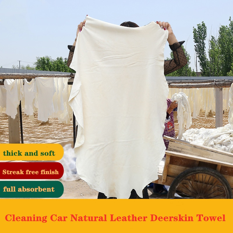 Hot Sale Natural Chamois Leather Car Cleaning Cloth Genuine Leather Wash Suede Absorbent Quick Dry Towel Streak Lint