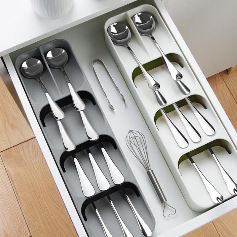 Кухонный лоток для хранения столовых приборов, кухонный держатель для ножей, органайзер, Кухонный Контейнер, хранилище для ложки, вилки, разделительный держатель для ножей-3