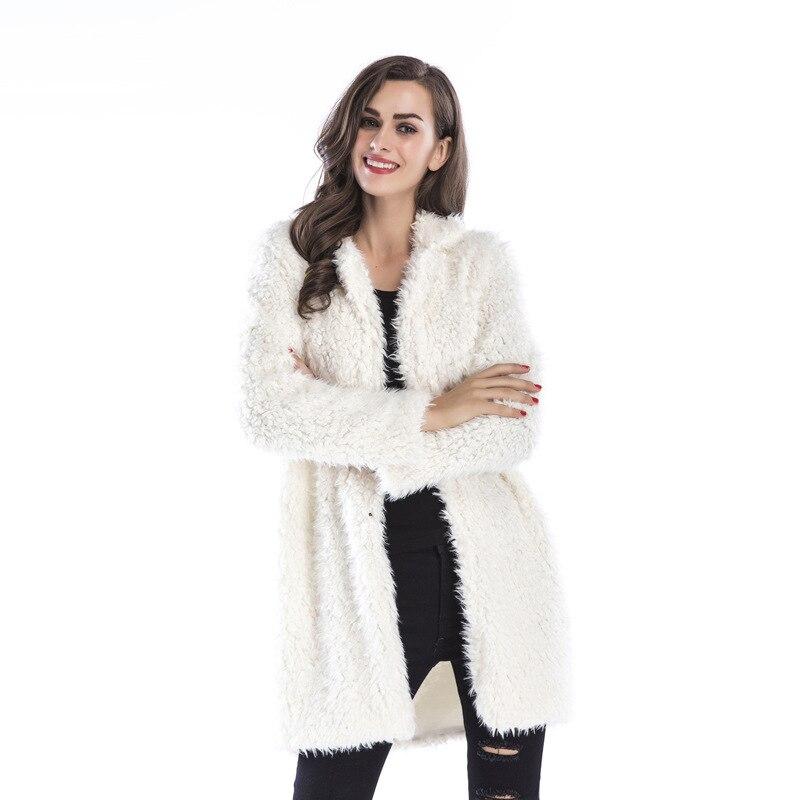 2020 Womens Long Wool-Blend Coat Women Dropped Shoulder Coats Turn Down Collar Long Sleeve Coat Winter Female Coats Outwear