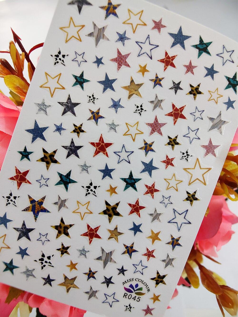Adhesivos para manicura 3D estrellas de colores geometría auto adhesivo adhesivos para...