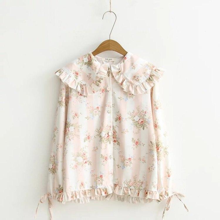 KYQIAO camisa dulce lolita Chicas mori otoño primavera estilo japonés kawaii adorables largo manga peter pan dibujo de cuello blusa