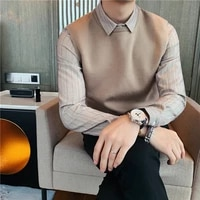 high quality autumn winter shirt spliced business knitted sweater men clothes 2020 thick warm pullovers casual pull homme sale