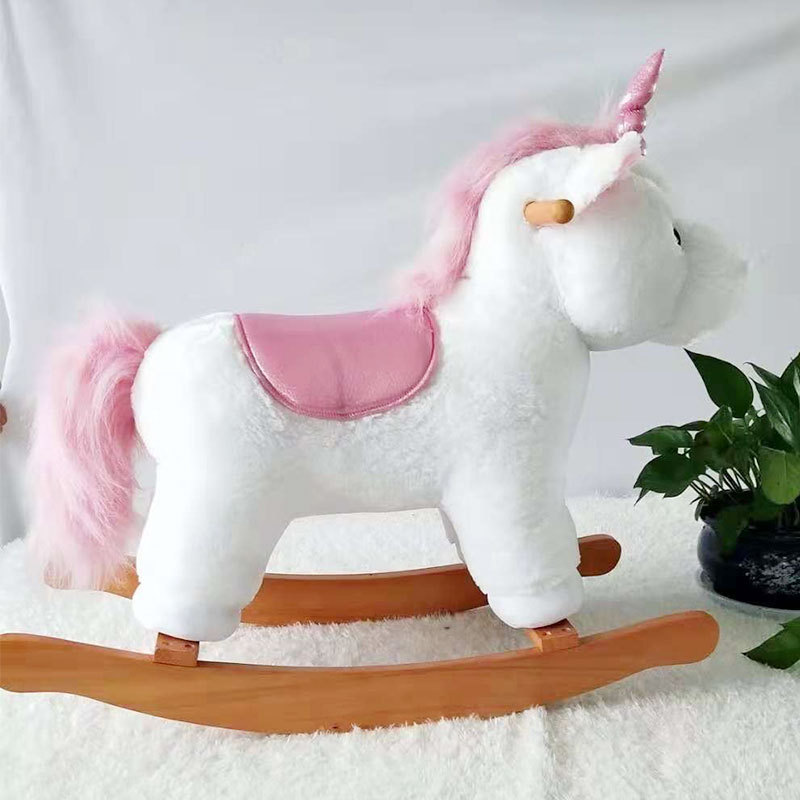Niños, Animal de peluche, troyano, unicornio, León, oveja, caballo balancín, bebé, mecedora de madera sólida, juguetes para niños, regalos