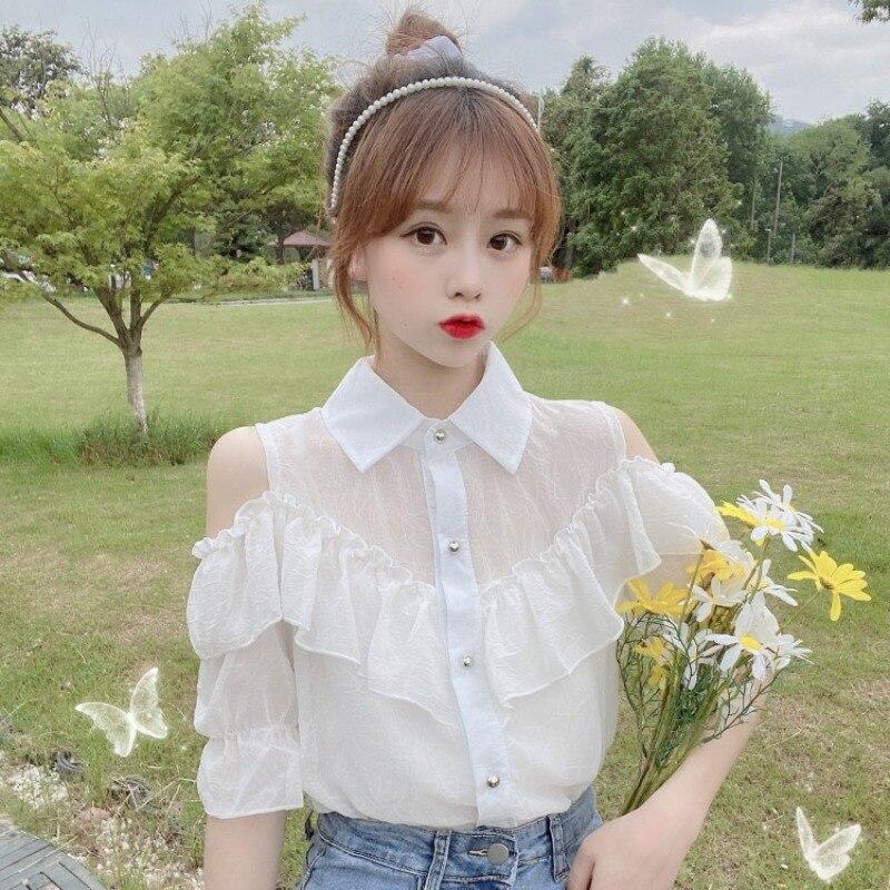 Very Fairy Blouse Immortal Elegant Chiffon Shirt Summer Sneaky Design off-the-Shoulder White Shirt W