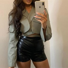 2021 spring and summer new suit cardigan lace up Lapel long sleeve large women's clothing hot sale b