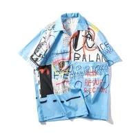 summer casual half sleeved shirt england style letter graffiti printing short sleeve shirts men outdoor wear trip beach blue top