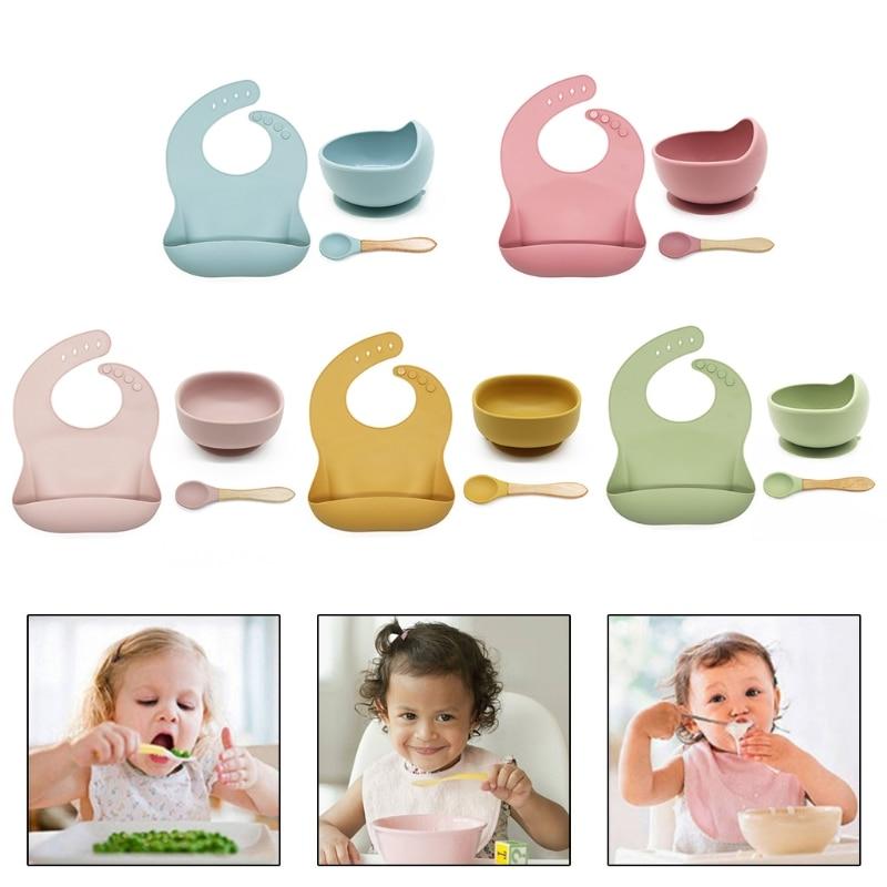 3 Pcs Baby Bibs+Suction Dish Bowl Plate+Spoon Set Waterproof Food Grade Silicone Newborn Adjustable Drooling Burp Aprons