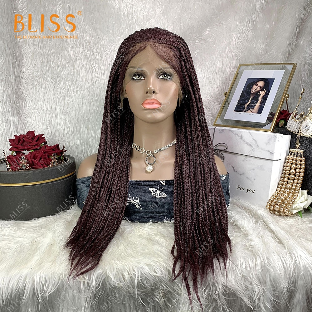 Synthetic 13X4 African Braid Wig Micro Cornrow Braids Lace Wigs For Black Women Red Cheap Wig Good Quality 30 inches
